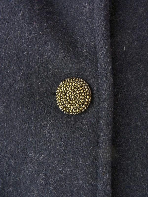 ヨーロッパ古着 ロンドン買い付け ブラック X ゴールド デザインボタン ヴィンテージ  ウール コート 09UK1512
