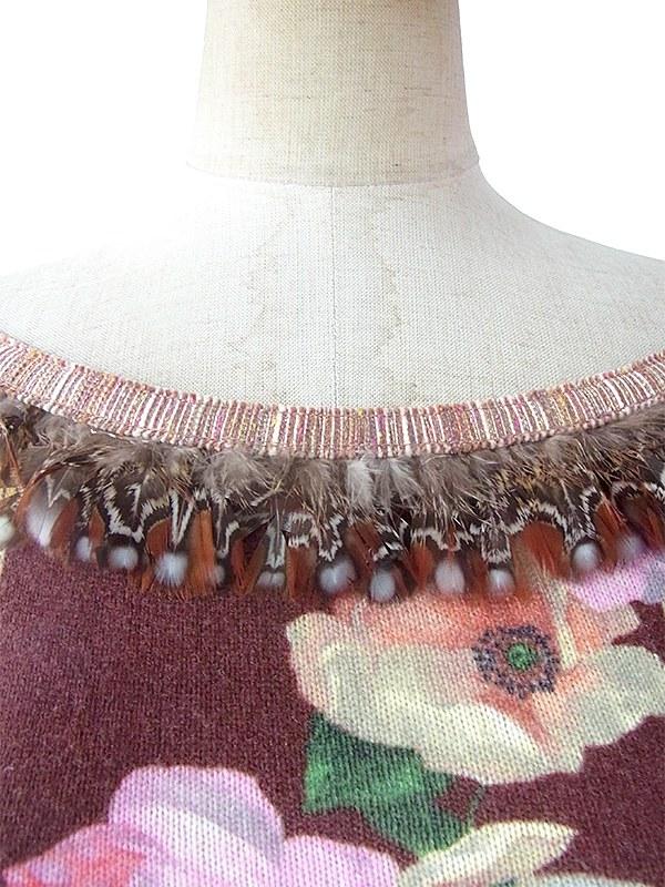 ヨーロッパ古着 ロンドン買い付け ベージュ X 薔薇プリント 襟・袖羽飾り トップス 09UK331