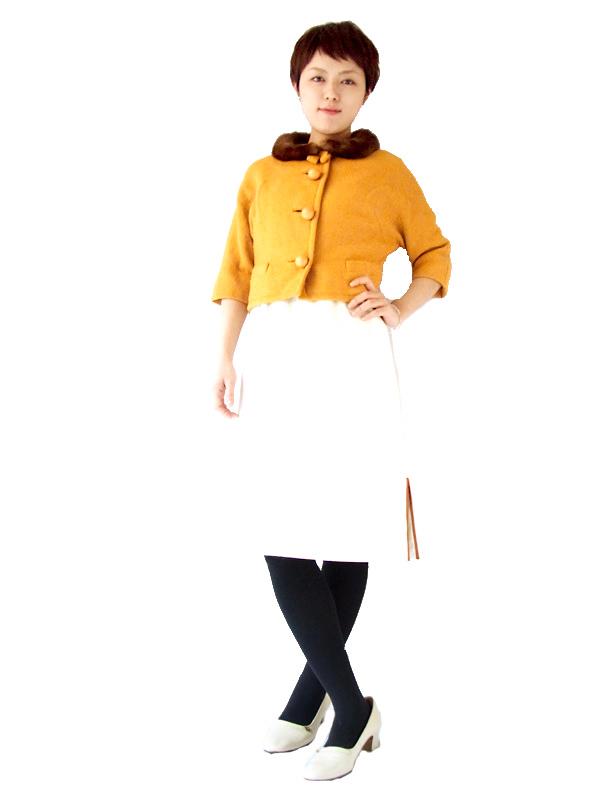 ロンドン買付 ヴィンテージ ボア襟 リボン付き ショート丈 ジャケット