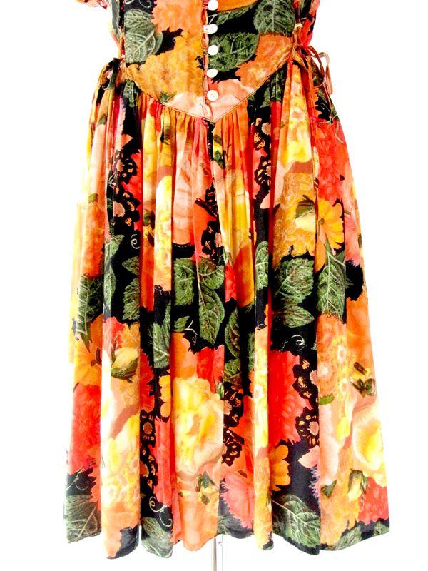 ヨーロッパ古着 ロンドン買付 カラフル 花柄 網目スリーブ ヴィンテージ ワンピース : 12BS182