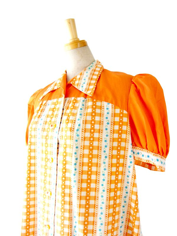 フランス買付 60年代製 オレンジ X ホワイト チェック・花柄 チュニック ワンピース : 12FC14