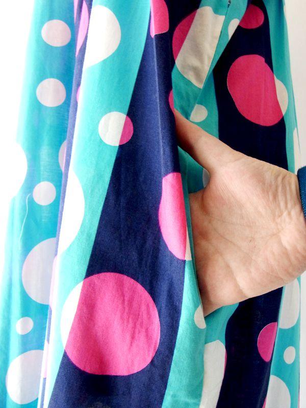 ヨーロッパ古着 フランス買い付け 水色・ブルー・ピンク 水玉 X ストライプ 60年代製 ワンピース : 13FC206