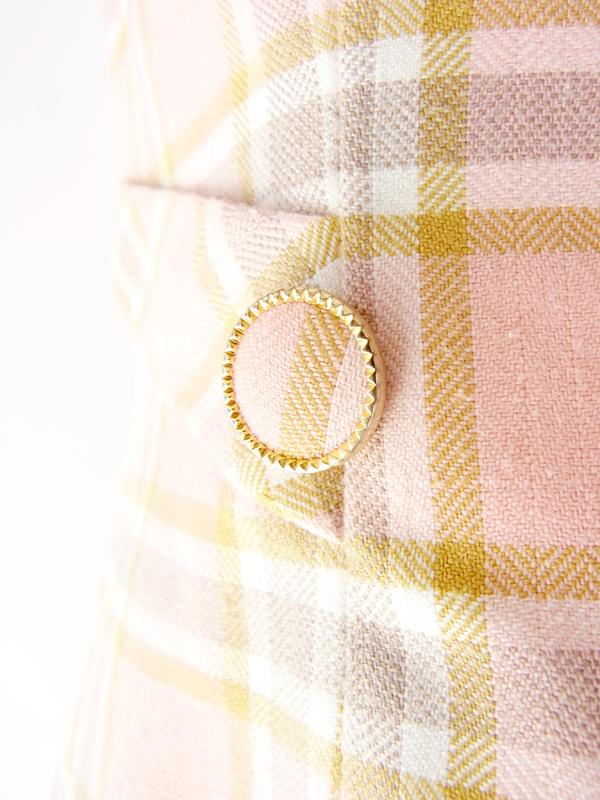 ヨーロッパ古着 フランス買い付け 60年代製 ピンク・ X ゴールド・グレイ・ホワイト チェック柄 ワンピース : 13FC521