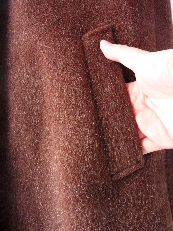 ヨーロッパ古着 フランス買い付け ブラウン ウールとモヘア 夢心地な肌触りの ヴィンテージ コート : 13FC814