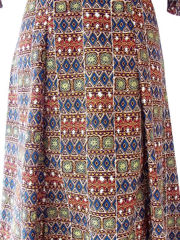 ヨーロッパ古着 フランス買い付け 60年代製  ブラウン x イエロー・ブルー アフリカンファブリック フレア袖 ロング丈 ワンピース 14FC310