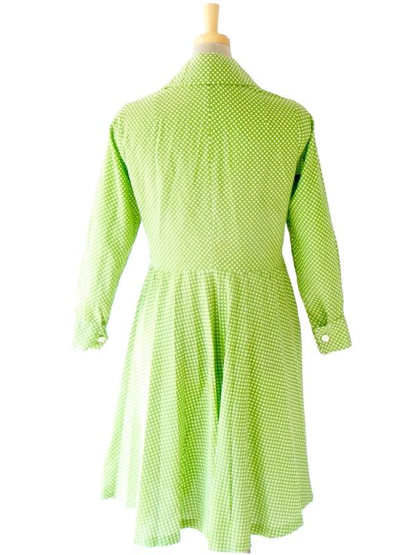 【ヨーロッパ古着】フランス買い付け グリーン X ホワイト 水玉 ヴィンテージ ワンピース 14FC323【レトロガーリー】