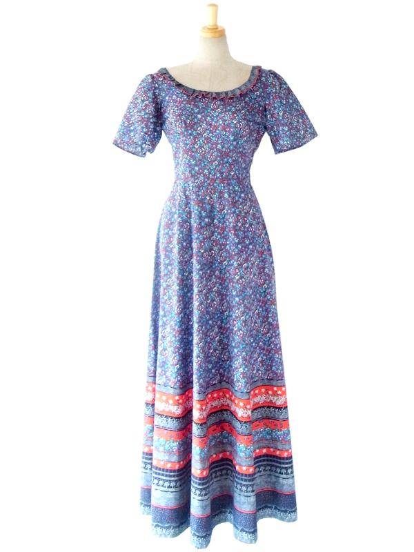 フランス買い付け 60年代製 ブルー X レッド 美しい花柄プリント フリル襟 マキシワンピース 14FC410
