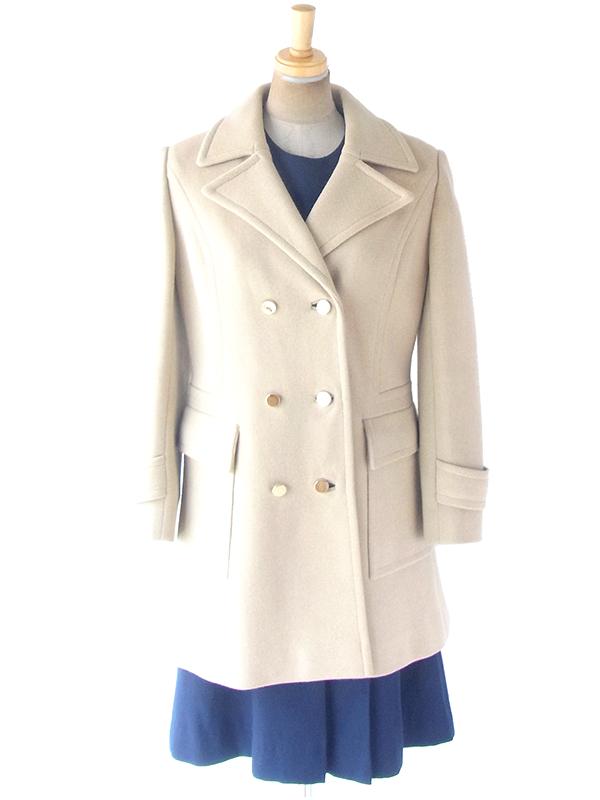 ヨーロッパ古着 フランス買い付け 60年代製 アイボリー X ダブルボタン シームデザイン 厚手ウール コート 14FC723