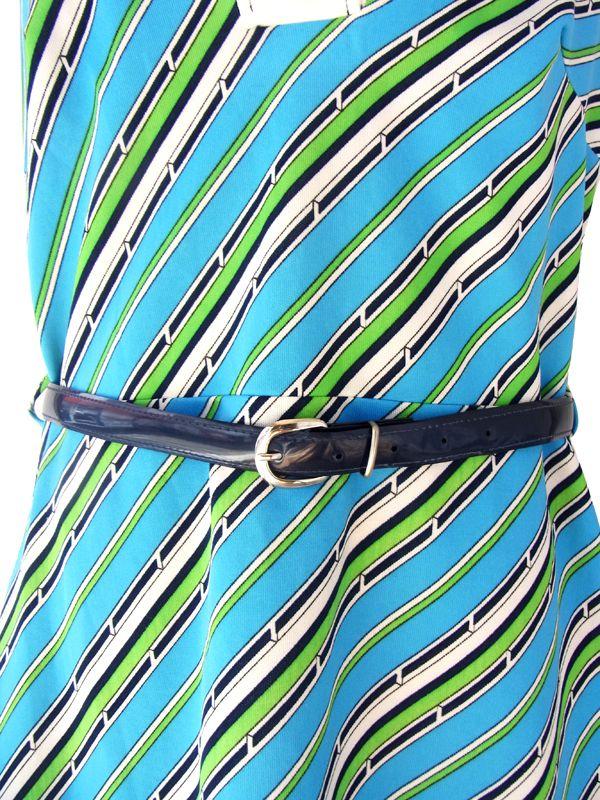 ヨーロッパ古着 ロンドン買い付け 70年代製 水色・ホワイト・グリーン 幾何学プリント ベルト付き ヴィンテージ ワンピース 15BS016
