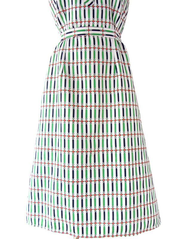 ヨーロッパ古着 ロンドン買い付け 70年代製 ホワイト X グリーン・レッド・ブルー 幾何学プリント レトロワンピース 15BS037