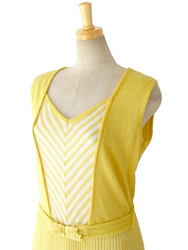 ヨーロッパ古着 ロンドン買い付け 60年代製 レモン色 X ホワイト 胸元バイアス柄 ヴィンテージ ワンピース 15BS101
