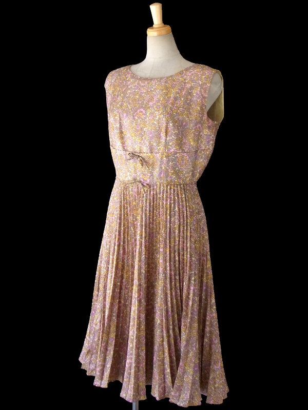 ヨーロッパ古着 ロンドン買い付け 60年代製 イエロー・グレージュ・ピンク 幾何学風花柄プリント ワンピース 15BS229