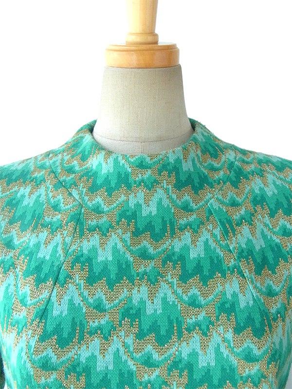 ヨーロッパ古着 ロンドン買い付け 60年代製 水色 X エメラルドグリーン・ラメ入りゴールド ジャガード編み ワンピース 15BS309