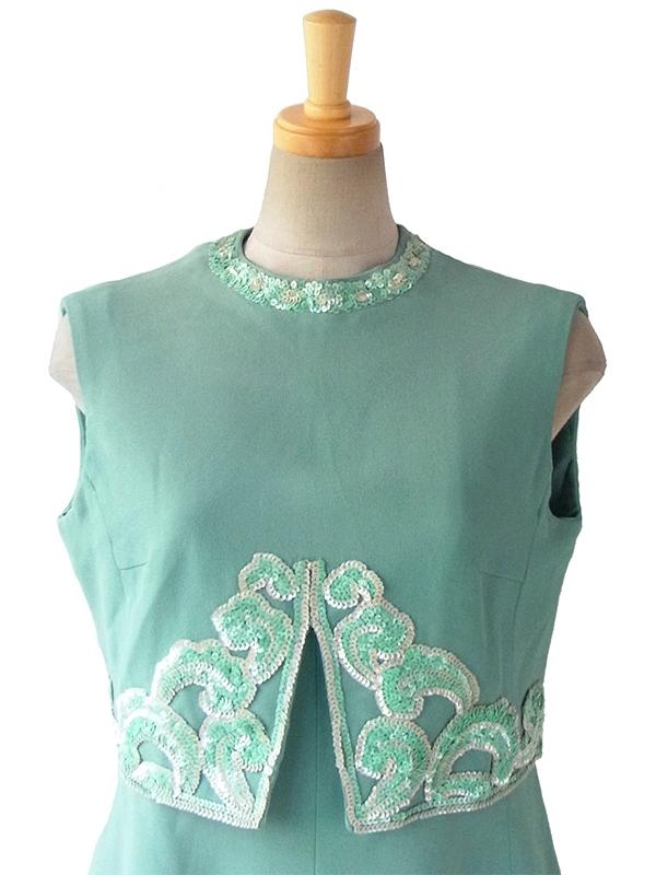 ヨーロッパ古着 ロンドン買い付け 60年代製 エメラルドグリーン スパンコール飾り 梨地ウール ワンピース 15BS411