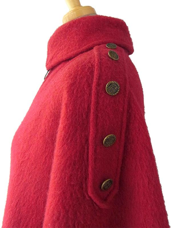 【送料無料】ロンドン買付 60年代製 レッド X ゴールド飾りボタン フロントジップ ウール ケープコート 15BS431【ヨーロッパ古着】