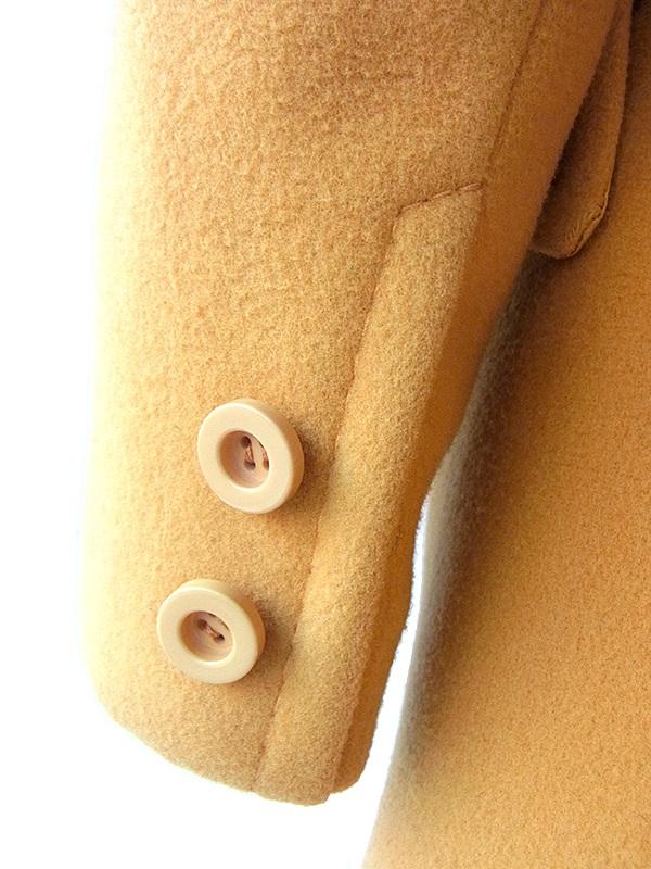 【送料無料】ロンドン買付 60年代製 マスタードイエロー X 共布ベルト付き ヴィンテージ メルトンコート 15BS436【ヨーロッパ古着】