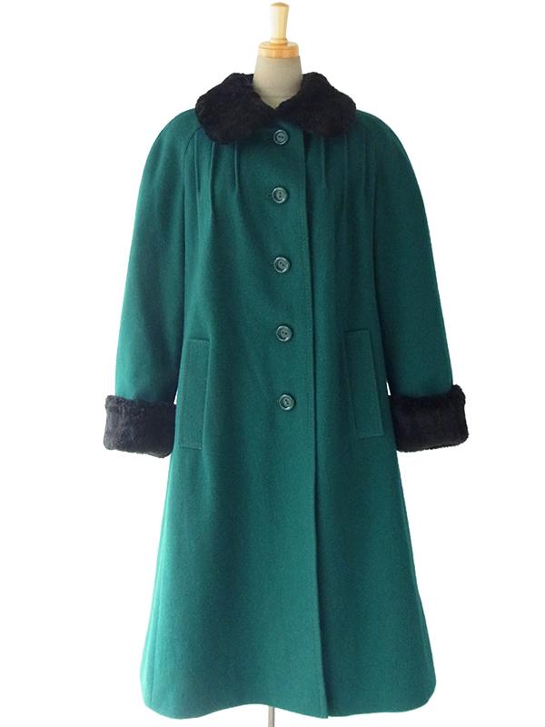 【送料無料】ロンドン買付 60年代製 グリーン X ブラック ファー襟・袖 ヴィンテージ ウールコート 15BS439【ヨーロッパ古着】