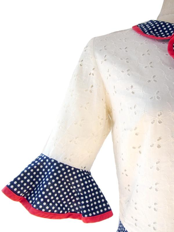 ヨーロッパ古着 フランス買い付け 60年代製 ホワイトカットレース X ネイビー水玉スカート レトロ ワンピース