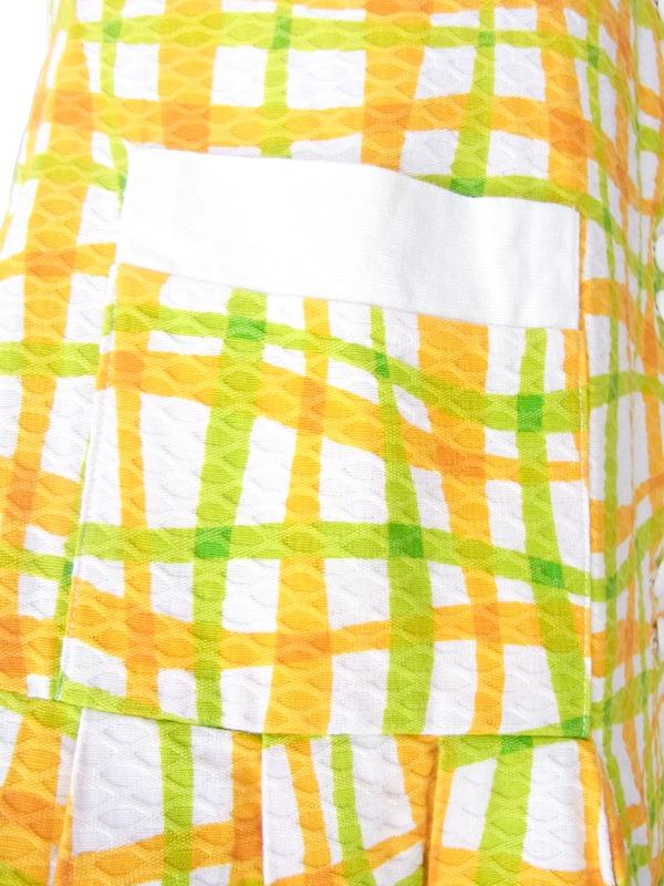 ヨーロッパ古着 フランス買い付け 60年代製 ホワイト X グリーン・オレンジ波模様 レトロワンピース 15FC107
