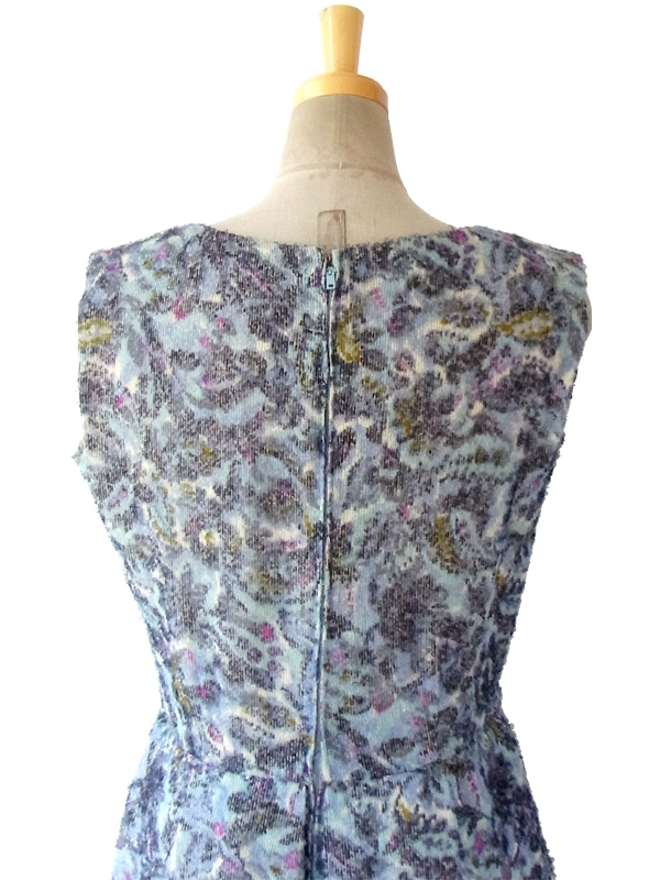 ヨーロッパ古着 60年代フランス製 繊細な生地が織りなす美しいグラデーションの花柄 ヴィンテージ ドレス 15FC308