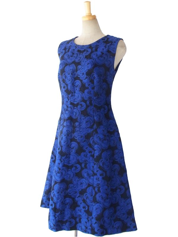 ヨーロッパ古着 フランス買い付け 60年代製 ブルー X ブラック 花柄織り エレガントシルエット ヴィンテージ ドレス 15FC309