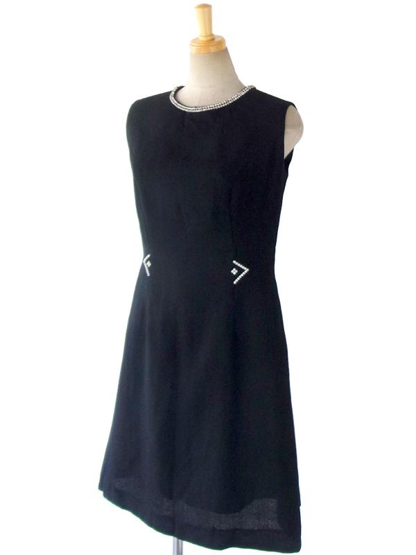 【送料無料】フランス製 ブラック X 襟元ラインストーン エレガントシルエット ヴィンテージ ウール ワンピース 15FC318【ヨーロッパ古着】