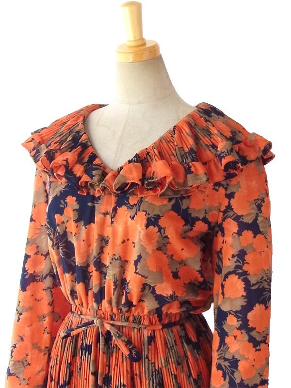 ヨーロッパ古着 60年代西ドイツ製 朱色 X ネイビー 花柄 ギャザー襟  紐ベルト付き プリーツ ワンピース 15FC319