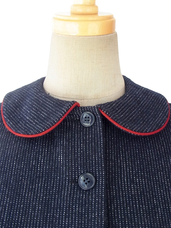 ヨーロッパ古着 フランス買い付け 60年代製 ブルー X 赤い縁取りの丸襟 上品で可愛らしいシルエットのヴィンテージワンピース 15FC327