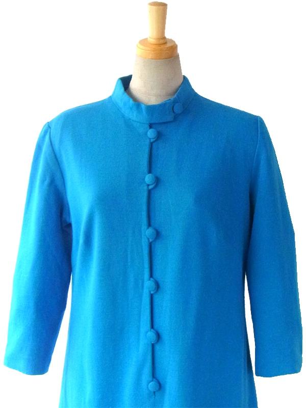 ヨーロッパ古着 フランス買い付け 60年代製 ターコイズブルー X かけボタン レトロデザイン ウール ワンピース 15FC419