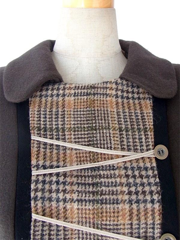 ダークブラウン X ブリティッシュチェック ウール ジャケット X スカート裾元生地切り返し セットアップ 15OD401