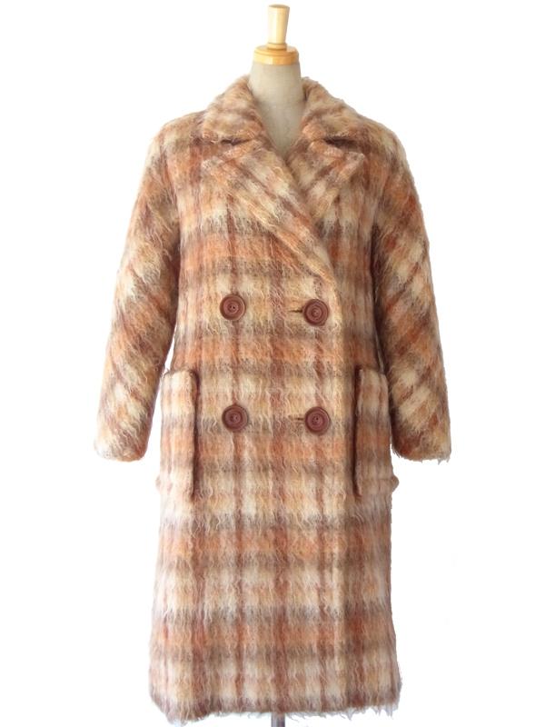 ヨーロッパ古着 ロンドン買い付け 70年代製 ベージュ・オレンジ・ブラウン 毛足の長いふんわりウール コート 15OD404