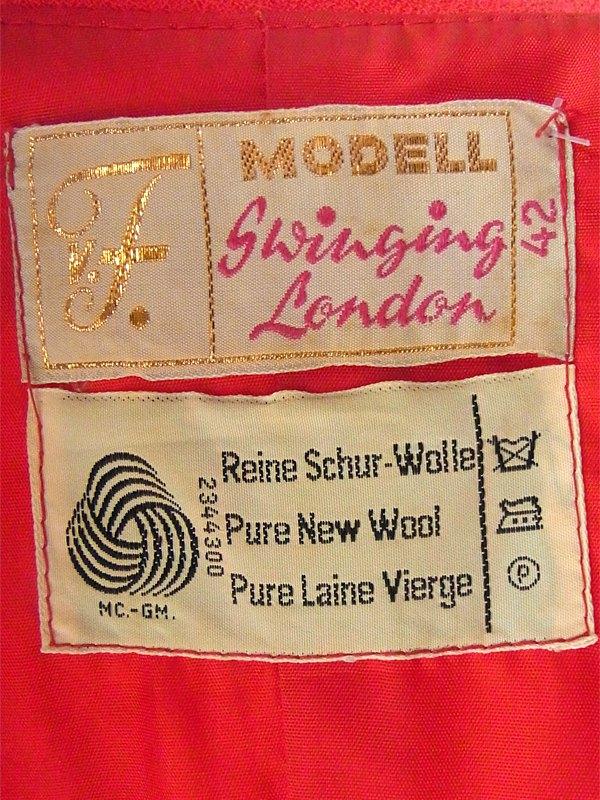 ヨーロッパ古着 ロンドン買い付け 60年代製 レッド X Aラインシルエット ウールワンピース 15OM305