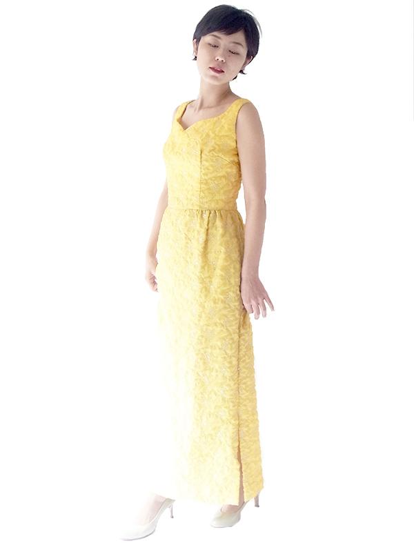 ヨーロッパ古着 ロンドン買い付け 60年代製 レモン色 X シルバーラメ糸花柄刺繍 マキシワンピース 15OM402