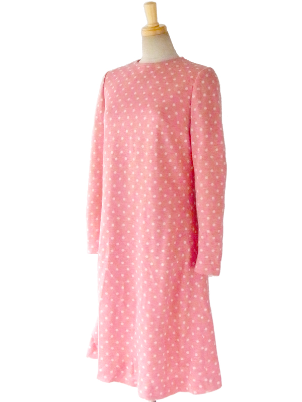 ヨーロッパ古着 ロンドン買い付け 60年代製 ピンク X ホワイト水玉 レトロ ワンピース 15OM408