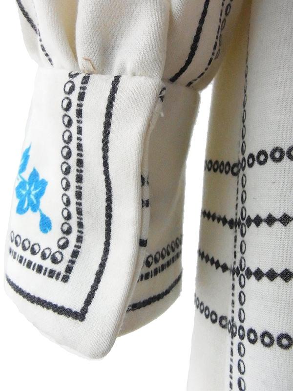 ヨーロッパ古着 ロンドン買い付け 60年代製 オフホワイト X ブルー花柄・ブラックチェック柄 ボウタイ ワンピース 16BS001