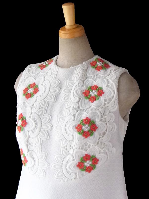 ヨーロッパ古着 ロンドン買い付け 60年代製 ホワイト X 花柄レース飾り Aライン ワンピース 16BS008