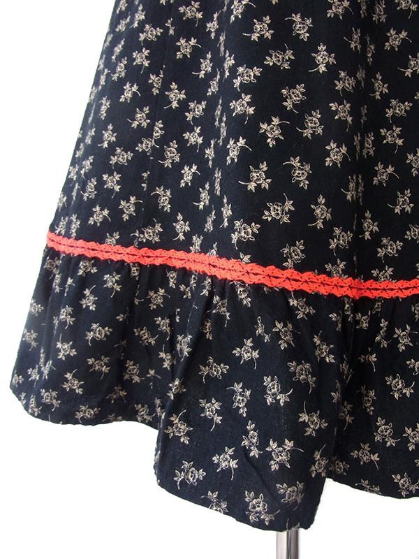 ロンドン買い付け 60年代製 ブラック X イエロー小花柄 レッド テープ縁取りヴィンテージ ワンピース 16BS015