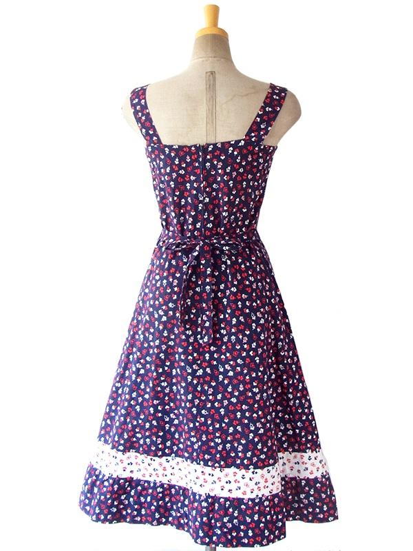 ヨーロッパ古着 ロンドン買い付け 60年代製 ブルー X レッド・ホワイト 小花柄 ストラップ ワンピース 16BS016