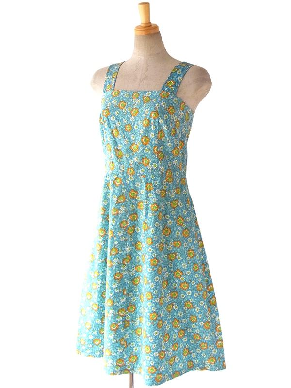 ヨーロッパ古着 ロンドン買い付け 60年代製 水色 X オレンジ・グリーン 花柄 ヴィンテージ ワンピース 16BS017