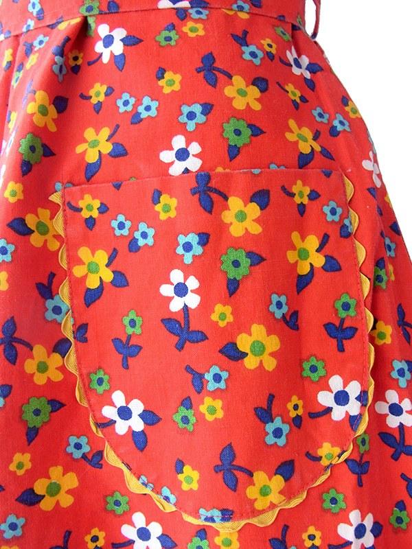 ヨーロッパ古着 ロンドン買い付け 60年代製 レッド X カラフル花柄 イエロー山道テープ レトロ ワンピース 16BS100