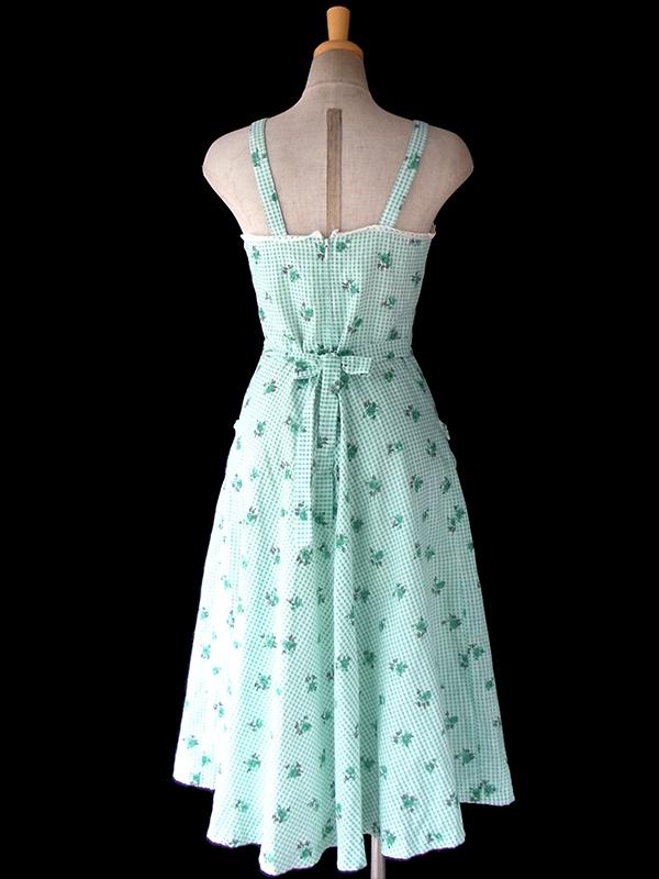 ヨーロッパ古着 ロンドン買い付け 60年代製 ミントグリーン X ギンガムチェック・花柄 カットレース ワンピース 16BS116