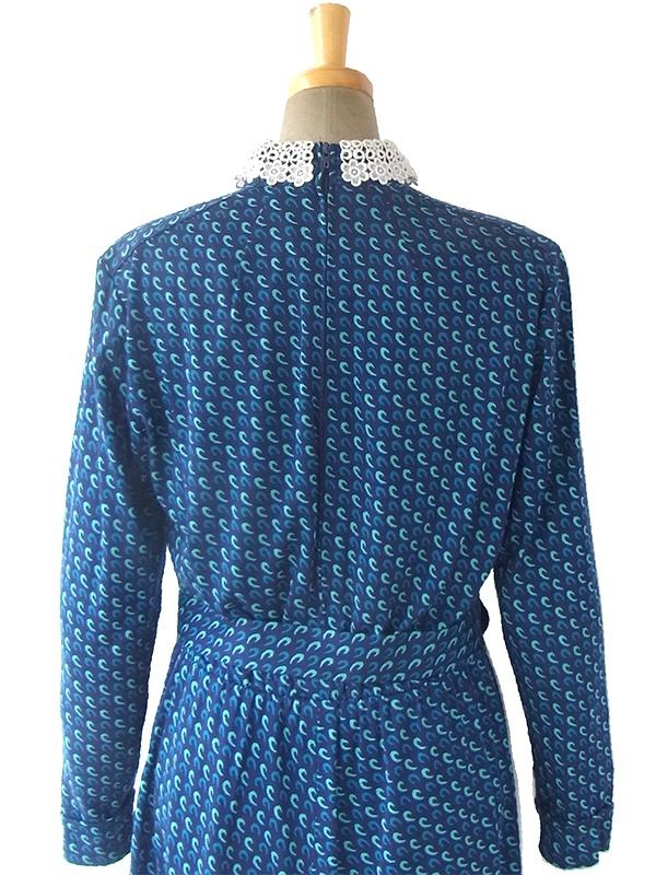 ヨーロッパ古着 ロンドン買い付け 60年代製 ブルー X 水色レトロ柄 ホワイトレース襟 ヴィンテージ ワンピース 16BS307