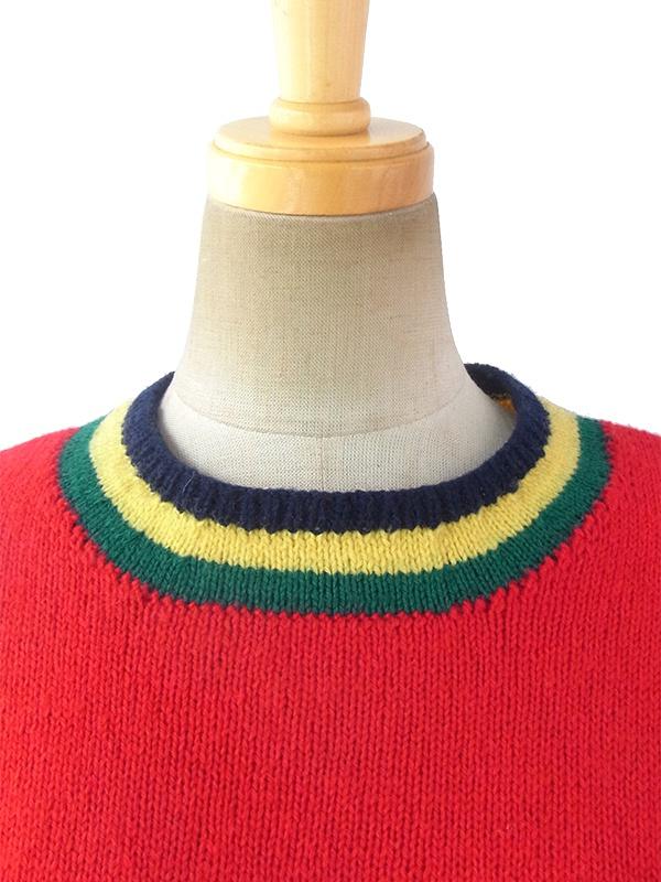 ロンドン買い付け 60年代製 ネイビーXレッド グリーン・イエロー  ライン ウール ニットワンピース 16BS308