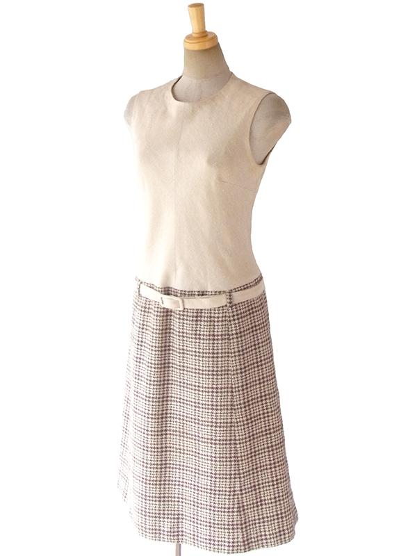 ヨーロッパ古着 ロンドン買い付け 60年代製 アイボリー X ブラウン 千鳥格子スカート 共布ベルト付き ワンピース 16BS313