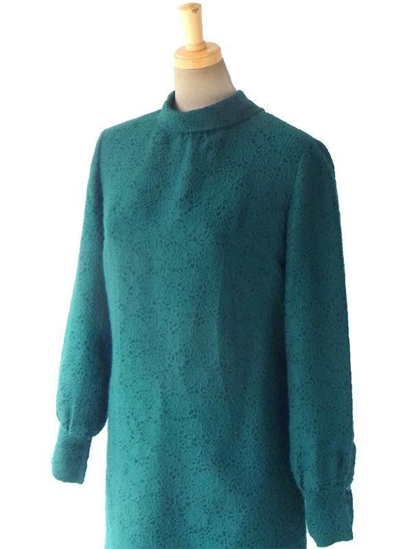 ヨーロッパ古着 ロンドン買い付け 60年代製 美麗グリーン X 花柄総刺繍 ウール ワンピース 16BS317