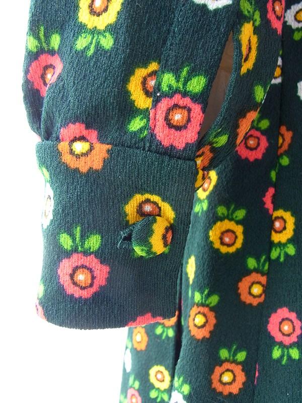 ヨーロッパ古着 ロンドン買い付け 60年代製 グリーン X カラフルなレトロ花柄 ヴィンテージ ワンピース 16BS334