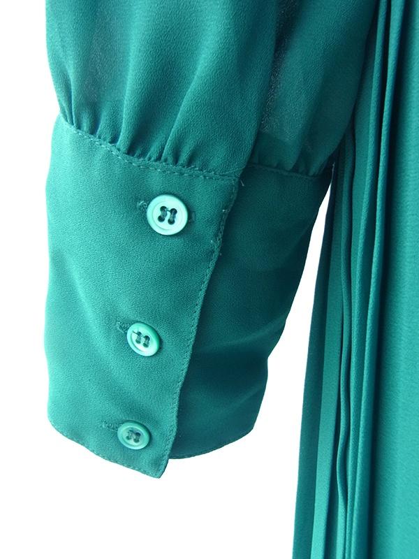 ヨーロッパ古着 ロンドン買い付け エメラルドグリーン X 贅沢プリーツ 共布ベルト付き ヴィンテージ ワンピース 16BS400