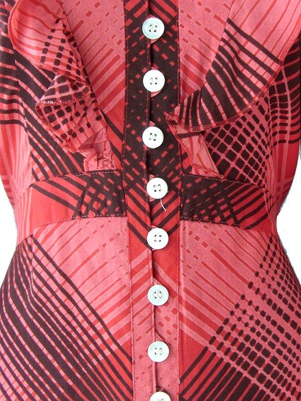 ヨーロッパ古着 ロンドン買い付け Betty Barclay 70年代製 レッド X ブラック チェック たっぷりフリル マキシ ワンピース 16BS407