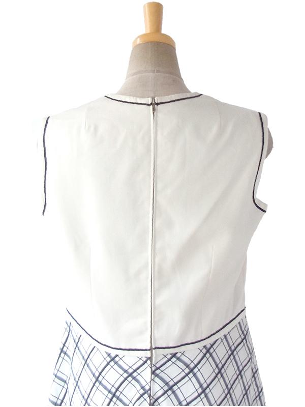 ヨーロッパ古着 ロンドン買い付け 70年代製 オフホワイト X ブラック チェック柄スカート 生地切り返し ワンピース 16BS410