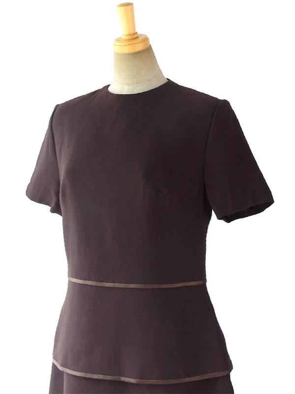 ヨーロッパ古着 ロンドン買い付け フランス製 ダークブラウン ヴィンテージ ティアード ウール ドレス 16BS413